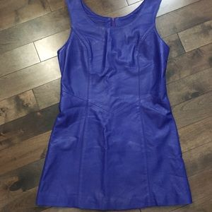 Dresses & Skirts - Blue leather mini dress